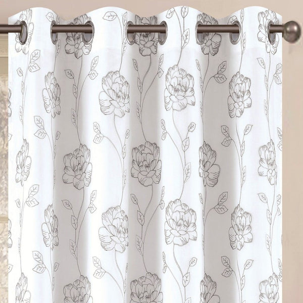 "Dynasty Lined Embroidered Grommet Panel 84"" - - Marburn Curtains"
