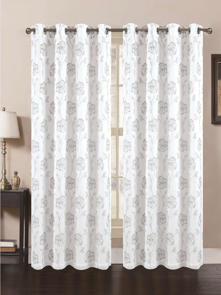 "Dynasty Lined Embroidered Grommet Panel 84"" - White/Platinum C41939- Marburn Curtains"
