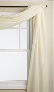 Reverie Rod Pocket Semi-Sheer Snow Voile Panel Collection - Scarf  060x216 Eggshell C33479- Marburn Curtains