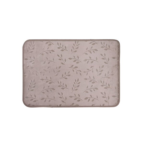 Embossed Leaf Memory Foam Bath Rug - 17x24 Pewter C40625- Marburn Curtains