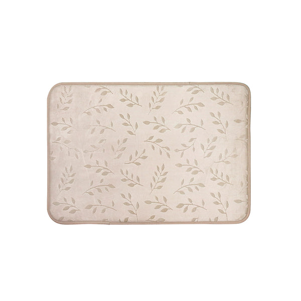 Embossed Leaf Memory Foam Bath Rug - 17x24 Taupe C40623- Marburn Curtains