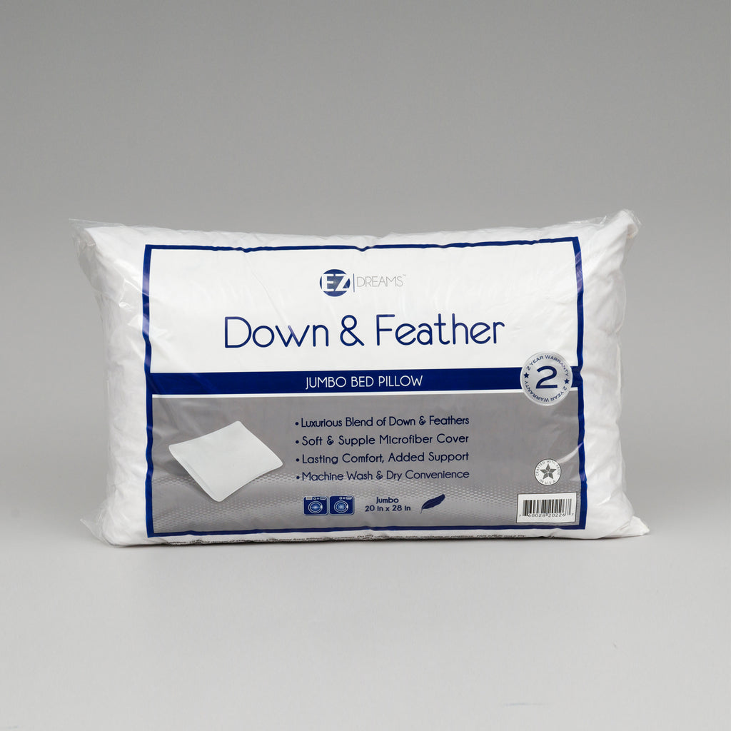 EZ-Dreams Jumbo Feather/Down Bed Pillow