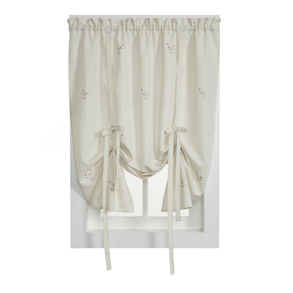 Forget-Me-Not Rod Pocket Tier/Valance/Tie-up Shade - Tie Up Shade 050x063 Ecru/Rose C27813- Marburn Curtains