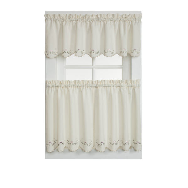 Forget-Me-Not Rod Pocket Tier/Valance/Tie-up Shade - Tier 060x024 Ecru Rose C25823- Marburn Curtains