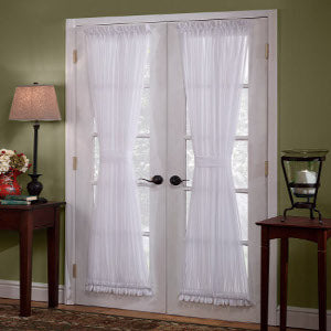 Emelia Sheer Rod Pocket Door Panel w/Tieback - 041x036 White C30330- Marburn Curtains