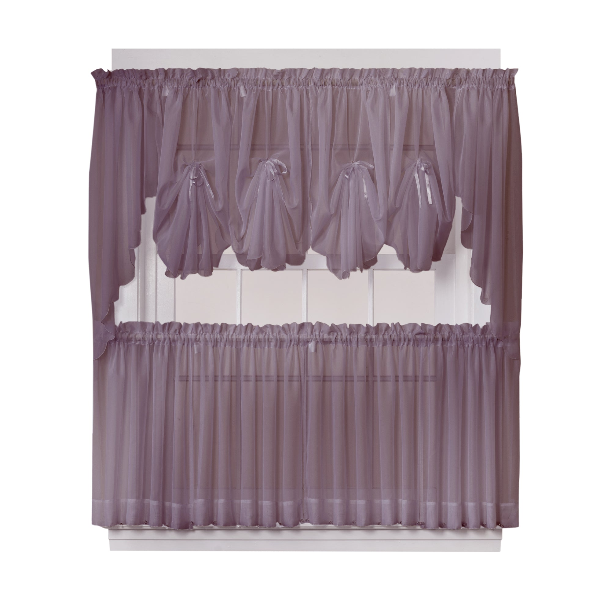 Emelia Sheer Rod Pocket Fan Swag - 030x040 Amethyst C30622- Marburn Curtains