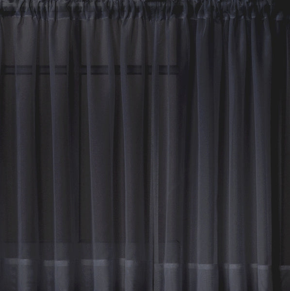 Emelia Sheer Rod Pocket Tier - 060x024 Black C31332- Marburn Curtains