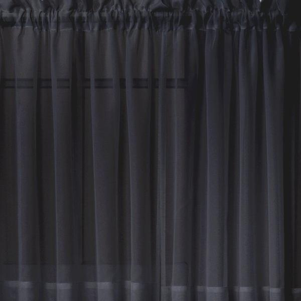 Emelia Sheer Voile Rod Pocket Swagger - 090x063 Black C31925- Marburn Curtains
