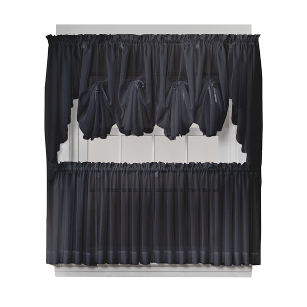 Emelia Sheer Rod Pocket Fan Swag - 030x040 Black C30623- Marburn Curtains