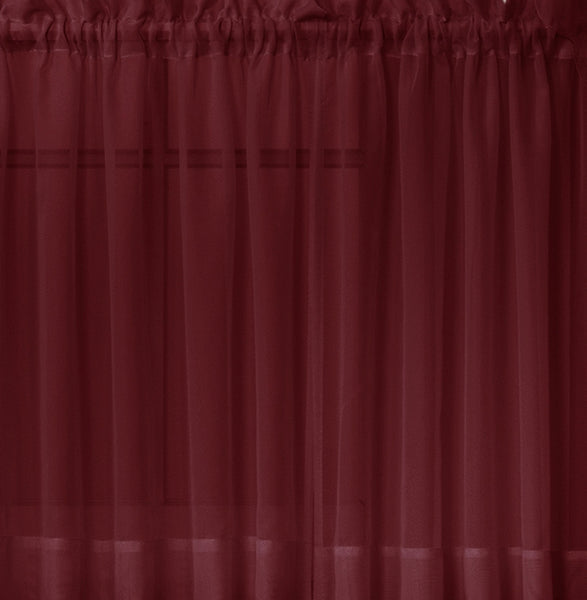 Emelia Sheer Rod Pocket Swag Valance - 060x038 Burgundy C31795- Marburn Curtains