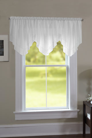 Emelia Sheer Ascot Dbl Layer Valance - 040x025 White C34999- Marburn Curtains