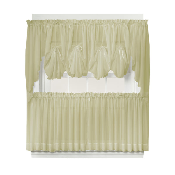 Emelia Sheer Rod Pocket Fan Swag - 030x040 Dusty Leaf C30625- Marburn Curtains