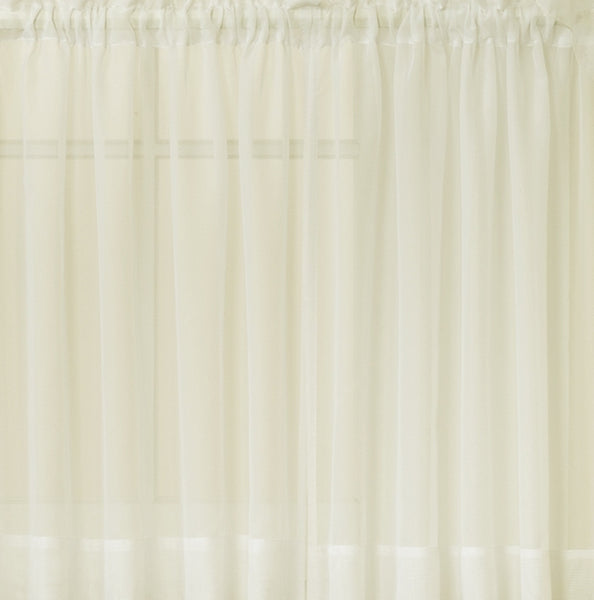 Emelia Sheer Rod Pocket Door Panel w/Tieback - 041x036 Ecru C30329- Marburn Curtains
