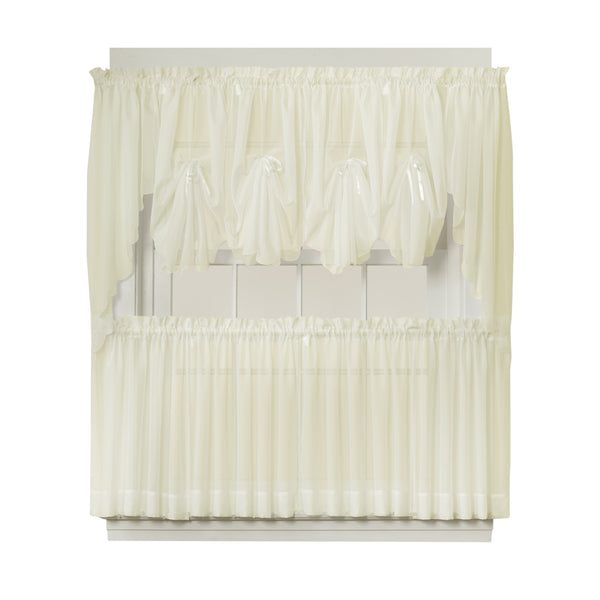 Emelia Sheer Rod Pocket Fan Swag - 030x040 Ecru C30626- Marburn Curtains