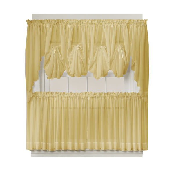 Emelia Sheer Rod Pocket Fan Swag - 030x040 Gold C30627- Marburn Curtains