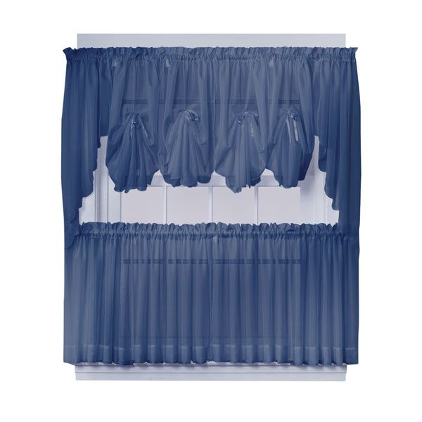 Emelia Sheer Rod Pocket Fan Swag - 030x040 Navy C30630- Marburn Curtains