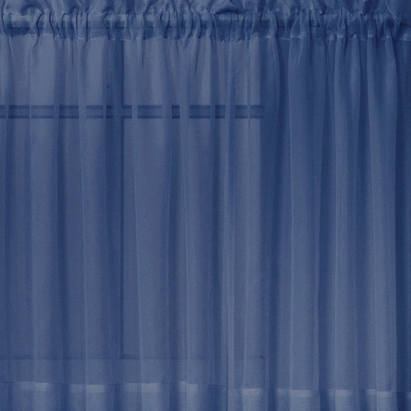 Emelia Sheer Ascot Dbl Layer Valance - 040x025 Navy C34996- Marburn Curtains