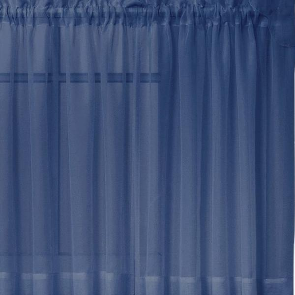 Emelia Sheer Voile Rod Pocket Swagger - 090x063 Navy C31932- Marburn Curtains