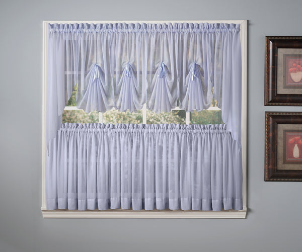 Emelia Sheer Rod Pocket Fan Swag - 030x040 Sky Blue C30634- Marburn Curtains