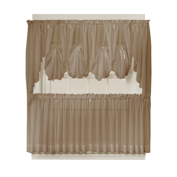 Emelia Sheer Rod Pocket Fan Swag - 030x040 Taupe C30635- Marburn Curtains