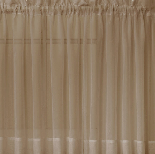 Emelia Sheer Rod Pocket Tier - 060x024 Taupe C31344- Marburn Curtains