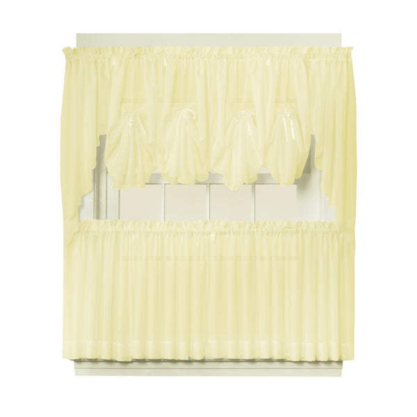 Emelia Sheer Rod Pocket Fan Swag - 030x040 Yellow C30637- Marburn Curtains
