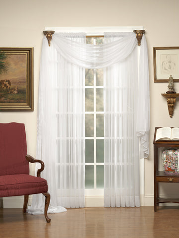 Emelia Sheer Voile Tailored Panel - 060x045   White  C31842- Marburn Curtains