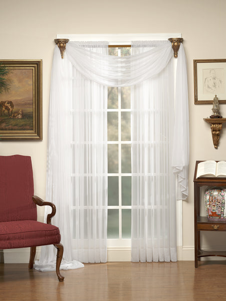 Emelia Sheer Tailored Voile Rod Pocket Panel - - Marburn Curtains