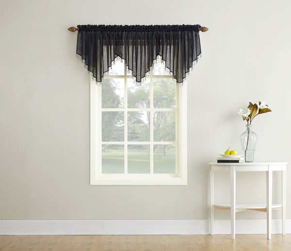 Erica Semi-Sheer Crushed Voile Rod Pocket Valance with Beads - Valance 051x024 Black C37135- Marburn Curtains