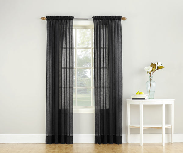 Erica Semi-Sheer Crushed Voile Rod Pocket Panel - Panel 051x063 Black C37138- Marburn Curtains