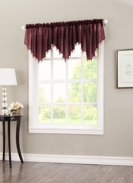 Erica Semi-Sheer Crushed Voile Rod Pocket Valance with Beads - Valance 051x024 Burgundy C32126- Marburn Curtains