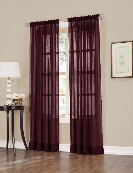 Erica Semi-Sheer Crushed Voile Rod Pocket Panel - Panel 051x063 Burgundy C32096- Marburn Curtains