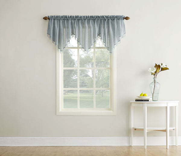 Erica Semi-Sheer Crushed Voile Rod Pocket Valance with Beads - Valance 051x024 Charcoal C37153- Marburn Curtains