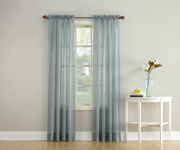 Erica Semi-Sheer Crushed Voile Rod Pocket Panel - Panel 051x063 Charcoal C37156- Marburn Curtains
