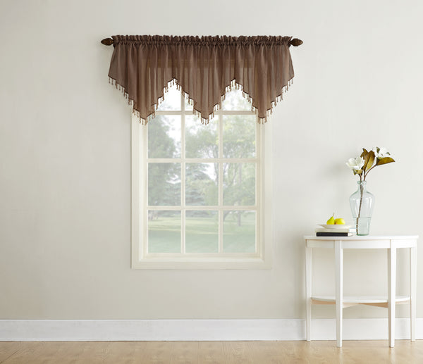 Erica Semi-Sheer Crushed Voile Rod Pocket Valance with Beads - Valance 051x024 Chocolate C32127- Marburn Curtains
