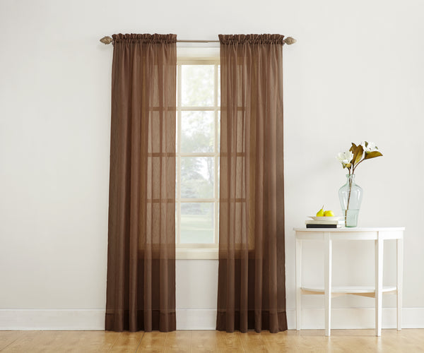 Erica Semi-Sheer Crushed Voile Rod Pocket Panel - Panel 051x063 Chocolate C32097- Marburn Curtains