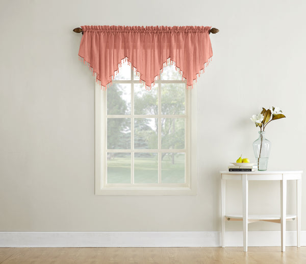 Erica Semi-Sheer Crushed Voile Rod Pocket Valance with Beads - Valance 051x024 Coral C40977- Marburn Curtains