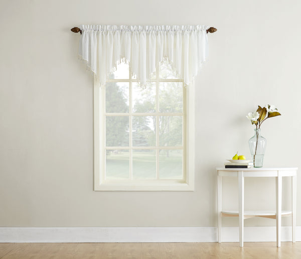 Erica Semi-Sheer Crushed Voile Rod Pocket Valance with Beads - Valance 051x024 Eggshell C32128- Marburn Curtains