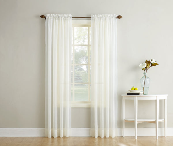 Erica Semi-Sheer Crushed Voile Rod Pocket Panel - Panel 051x063 Eggshell C32098- Marburn Curtains