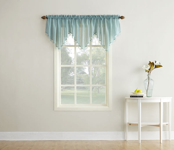 Erica Semi-Sheer Crushed Voile Rod Pocket Valance with Beads - Valance 051x024 Mineral C32130- Marburn Curtains
