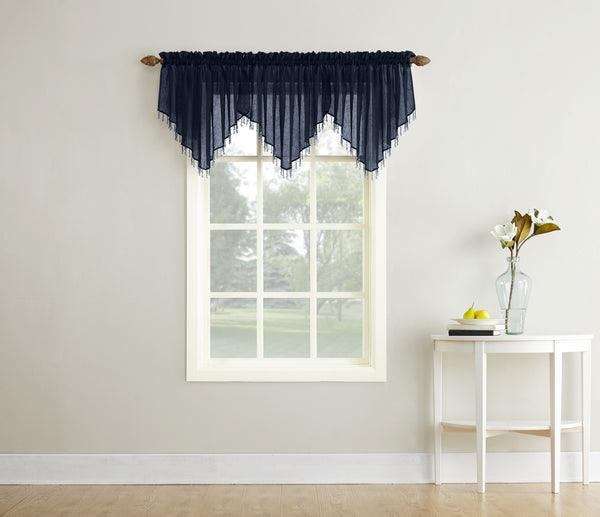 Erica Semi-Sheer Crushed Voile Rod Pocket Valance with Beads - Valance 051x024 Navy C37131- Marburn Curtains
