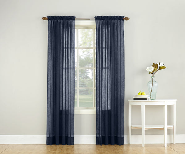 Erica Semi-Sheer Crushed Voile Rod Pocket Panel - Panel 051x063 Navy C37134- Marburn Curtains