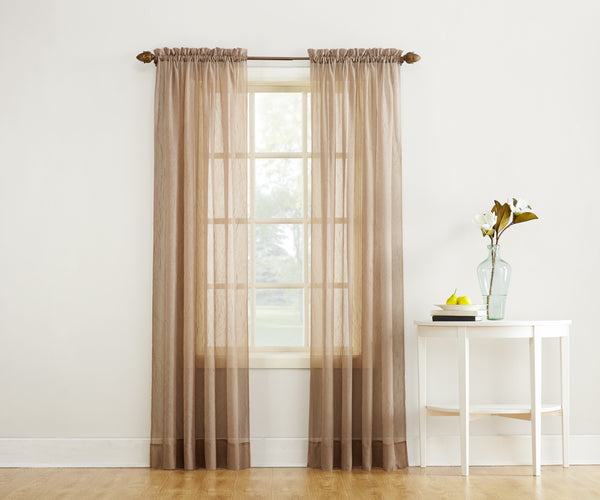 Erica Semi-Sheer Crushed Voile Rod Pocket Panel - Panel 051x063 Taupe C32103- Marburn Curtains