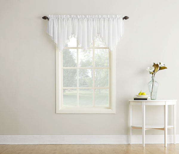 Erica Semi-Sheer Crushed Voile Rod Pocket Valance with Beads - Valance 051x024 White C32134- Marburn Curtains