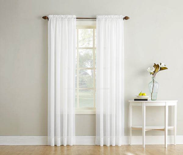Erica Semi-Sheer Crushed Voile Rod Pocket Panel - Panel 051x063 White C32104- Marburn Curtains