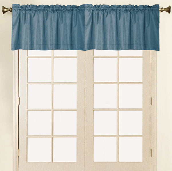 Felicity Foamback Rod Pocket Panel/Valance - Valance 052x017 Navy C41290- Marburn Curtains