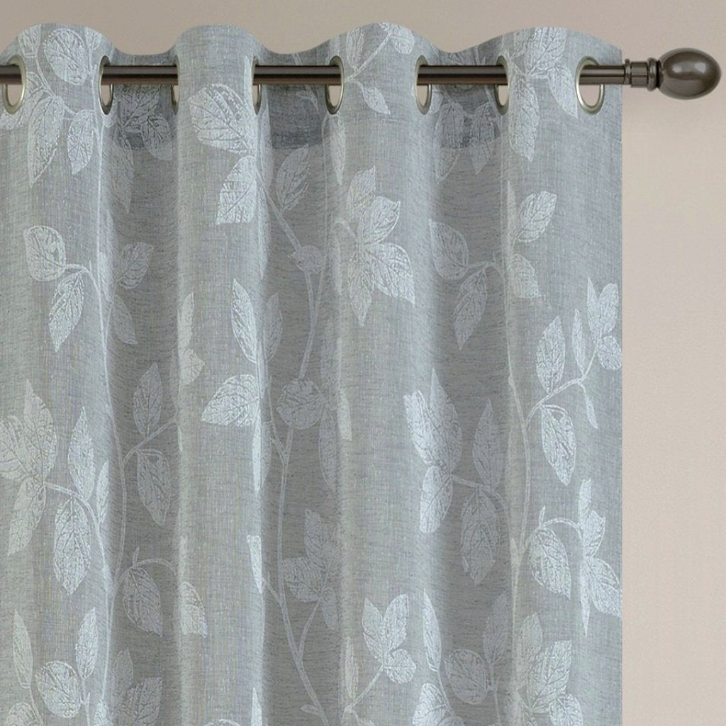 Foliage Semi-Sheer Print Grommet Panel 84""