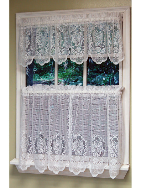 Fairmount Rod Pocket Tier/Valance/Swag - Swag 056x038 White C26992- Marburn Curtains