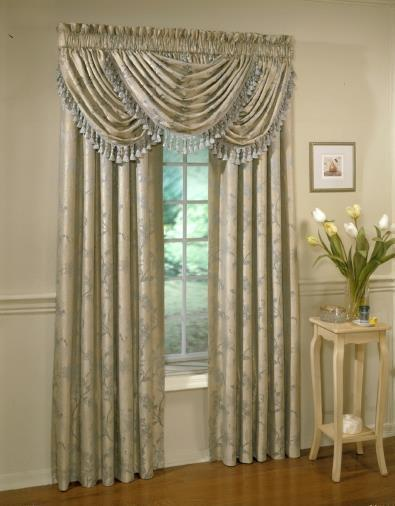 Floral Lustre Rod Pocket Panel /Waterfall Valance