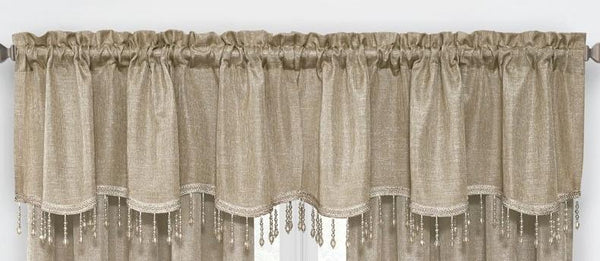 Gina Rod Pocket Valance with Faux Crystal Beads - Valance 52x20 Gold C42289- Marburn Curtains